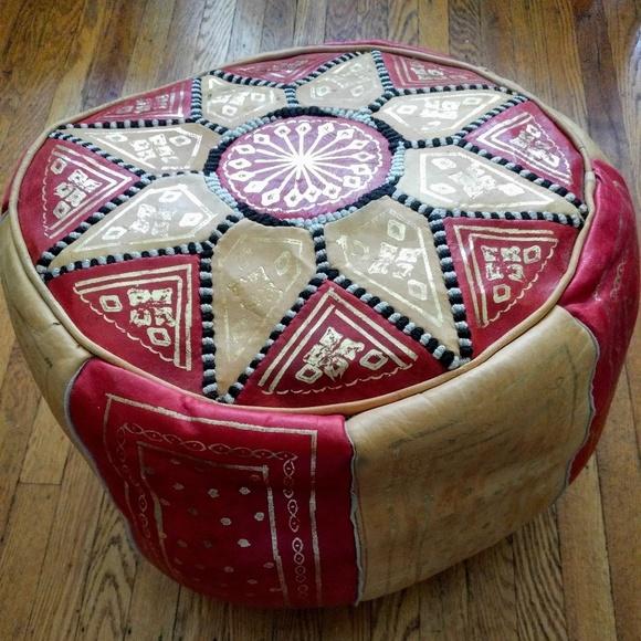 Surprising Authentic Boho Moroccan Leather Pouf Lamtechconsult Wood Chair Design Ideas Lamtechconsultcom